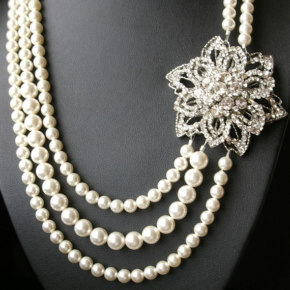 Statement Wedding Necklace, Crystal Bridal Necklace, Vintage Wedding Jewelry, Great Gatsby Jewelry, Triple Strand Pearl Necklace,ALYCIA