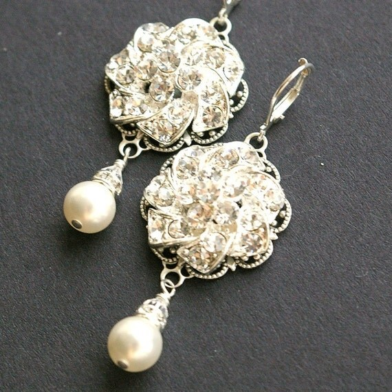 Bridal Pearl Earrings, Rhinestone Wedding Earrings, Vintage Bridal Jewelry, Filigree Bridal Earrings, Ivory White Pearl Drops, ABIGAIL
