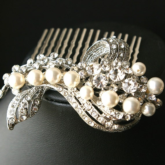 Bette, Vintage Hollywood Pearl and Rhinestone Bridal Hair Comb NEW
