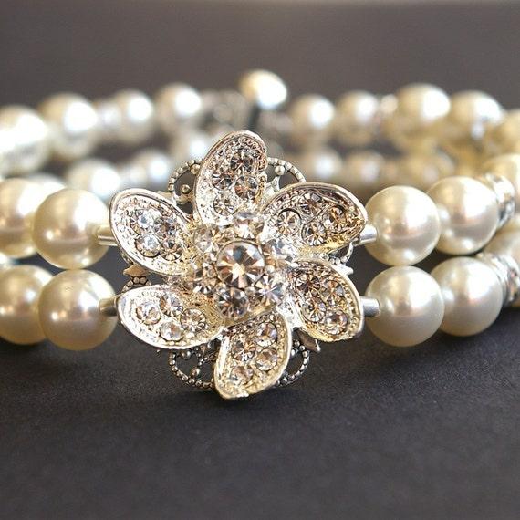 Bridal Flower Bracelet : Rhinestone flower bridal bracelet vintage style by luxedeluxe