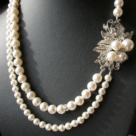 Vintage Style Rhinestone Wedding Bridal Necklace, Silver Leaf Wedding Necklace, Pearl Bridal Jewelry, Vintage Wedding Jewelry, MARTHA