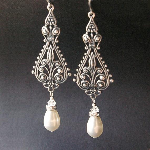 vintage bridal earrings silver filigree earrings antiqued