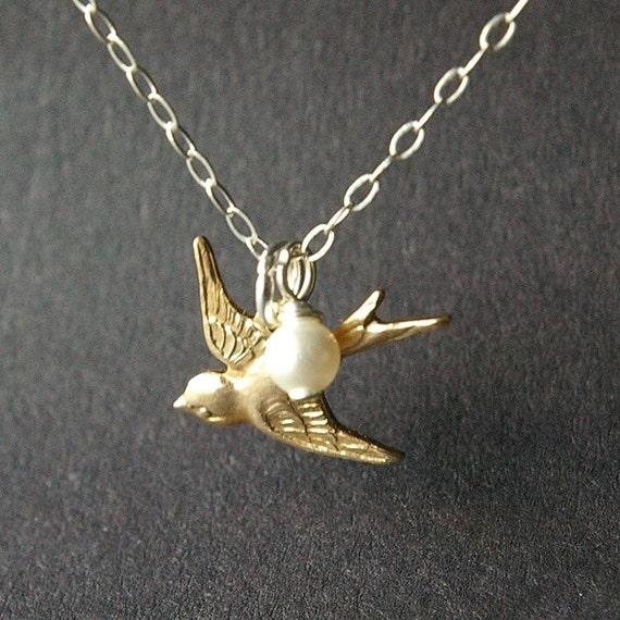 SET OF FIVE Gold Bird Charm Necklaces, Sterling Silver Necklaces, Bridal Party Gifts, Bridesmaids Necklaces, Wedding Jewelry