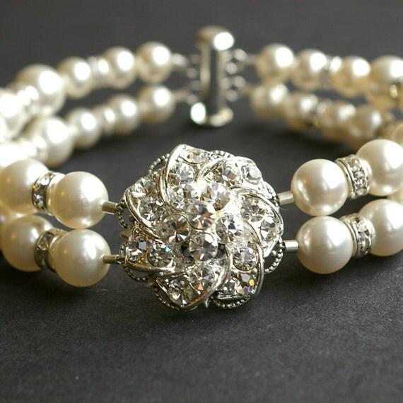 Vintage Inspired Bridal Wedding Bracelet, Ivory White Pearl Wedding Bracelet, Rhinestone Flower Bridal Wedding Jewelry, Abigail