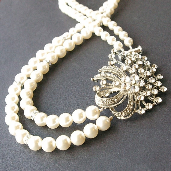 Wedding Necklace, Art Deco Bridal Necklace, Vintage Wedding Jewelry, Ivory Pearl Bridal Jewelry, Swarovski Crystals, SABRINA
