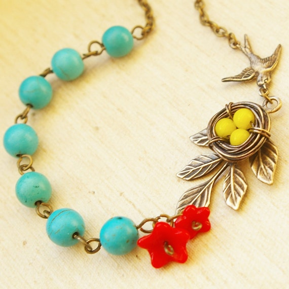 Yellow, Red & Turquoise Birds Nest Necklace, Wire Wrapped Birds Nest Necklace, Bird Nest Jewelry- Frida's Love Nest
