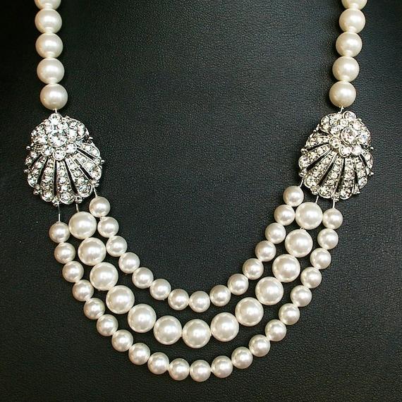 Great Gatsby Style Wedding Necklace, Rhinestone Bridal Necklace, Art Deco Wedding Jewelry, Statement Necklace, MAUDE