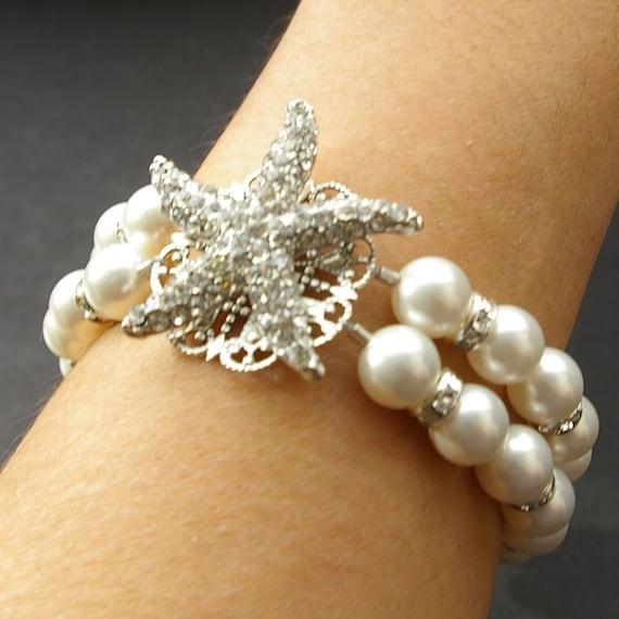 Bridal Starfish Bracelet, Pearl Wedding Bridal Bracelet, Destination Beach Wedding Jewelry, Crystal Starfish Bracelet, SEA MAIDEN