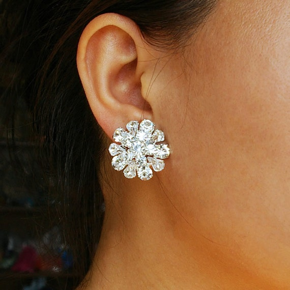 Crystal Bridal Earrings,Vintage Inspired Wedding Earrings, Art Deco Wedding Jewelry, Old Hollywood Glamour, ELIZA