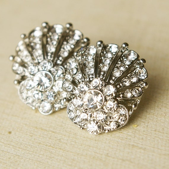 Art Deco Inspired Bridal Earrings, Vintage Wedding Bridal Jewelry, Great Gatsby Style Wedding Earrings, Seashell Fan Stud Earrings, MAUDE