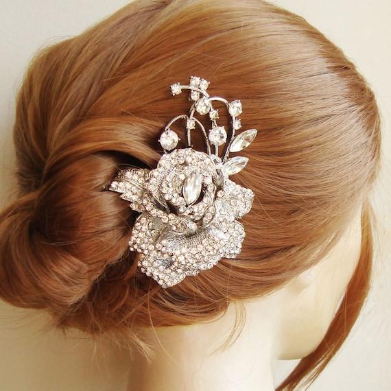 Wedding Vintage Style Hair Accessories: Items Similar To Crystal Rose Bridal Hair Comb, Bridal