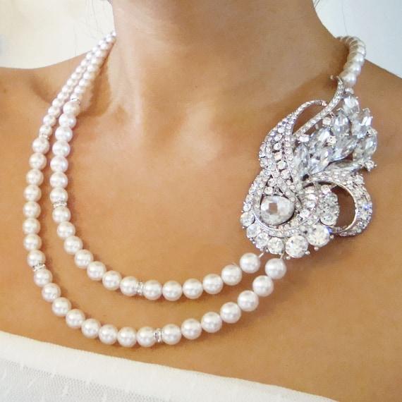 Vintage Bridal Jewelry, Pearl Wedding Necklace, Rhinestone Bridal Necklace, Statement Wedding Jewelry, BRIDGETTE