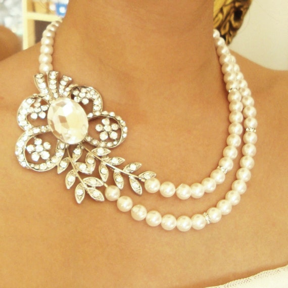 Pearl Bridal Necklace, Vintage Wedding Jewelry, Art Deco Wedding Necklace, Crystal Flower & Leaves Necklace, Statement Bridal Jewlery, EVE