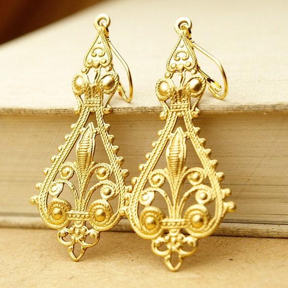 Gold Filigree Earrings, Long Chandelier Earrings, Golden Brass Earrings, Earthy, BOHEMIA