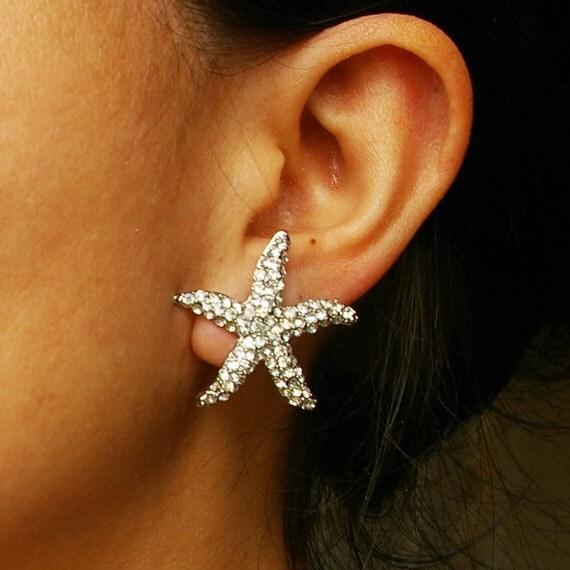 Bridal Starfish Earrings, Crystal Starfish Wedding Earrings, Beach Wedding Bridal Earrings, Destination Wedding Jewelry, SEA MAIDEN