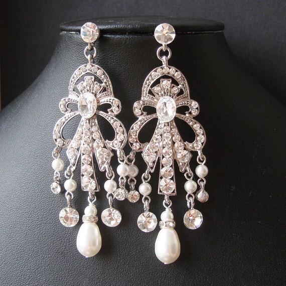 Art Deco Style Statement Wedding Chandelier Earrings, Vintage Style Chandelier Bridal Earrings, Long Pearl Tear Drop Earrings, OCTAVIA