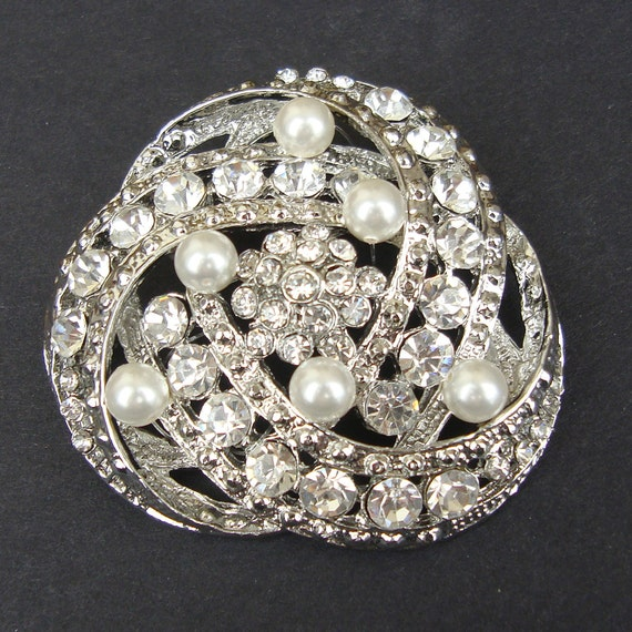Art Deco Style Bridal Brooch, Vintage Style Wedding Brooch Pin, Rhinestone and Pearl Brooch, Crystal Sash Brooch, Bridal Jewelry, LOIS