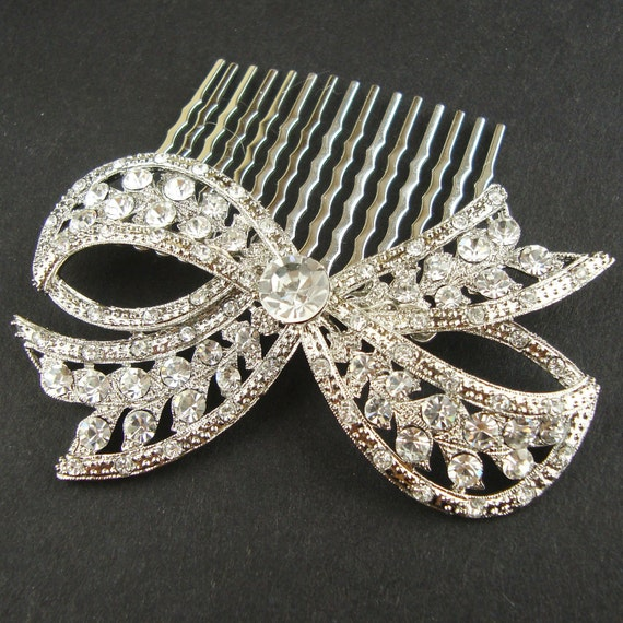 Bridal Hair Comb, Vintage Retro Wedding Hair Comb, Wedding Hair Accessories, Crystal Bow, Art Deco Bridal Hair Piece, LOLA