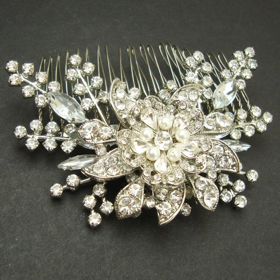 Bridal Hair Comb, Vintage Style Wedding Comb, Bridal Hair Accessories, Art Deco Crystal Hair Comb, Bridal Head Piece, STARGAZER III