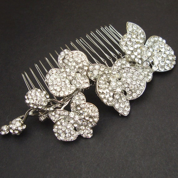 Vintage Style Wedding Hair Comb, Silver Orchids Bridal Hair Comb, Rhinestone Wedding Hair Accessories, Bridal Comb, ORCHID BLOOM