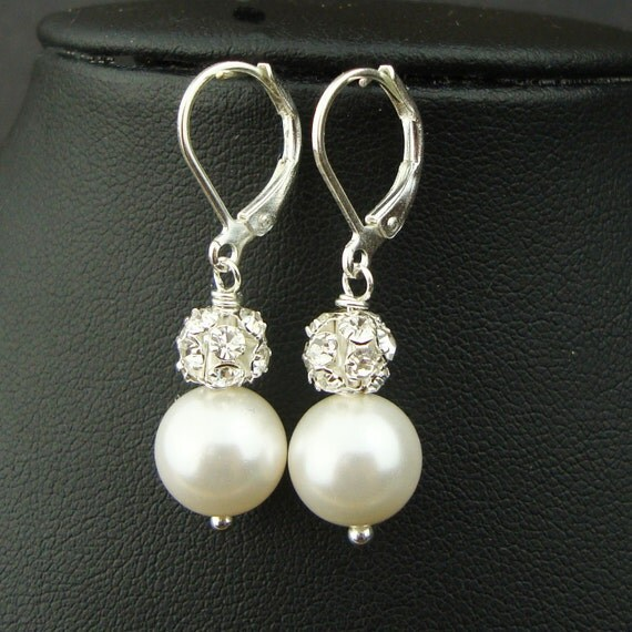 Vintage Style Rhinestone & Pearl Bridal Earrings, Wedding Earrings, Bridal Party Gifts, Ivory White Pearl Wedding Earrings (Large), EMILY