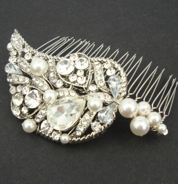 Rhinestone Leaf Wedding Hair Comb, Vintage Style Bridal Hairpiece, Silver Leaves Wedding Hair Bridal Accessories, Bridal Hair Comb, DARCY