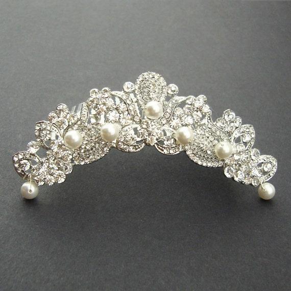 Bridal Tiara, Wedding Crown, Bridal Headpiece, Vintage Wedding Tiara, Silver Tiara, MARSEILLE