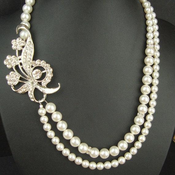 Rhinestone Bridal Necklace, Silver Wedding Necklace, Vintage Style Wedding Jewelry, Pearl Bridal Jewelry, STEPHANIE