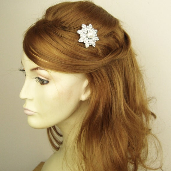 Victorian Style Wedding Hair: Items Similar To Rhinestone & Pearl Bridal Hair Comb