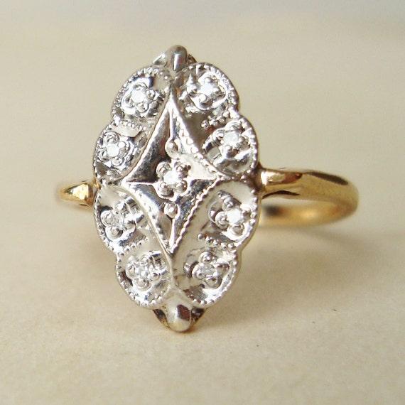 Vintage Engagement Ring, Art Deco Style 10k Gold Diamond Ring, Wedding Ring Size US 5.75