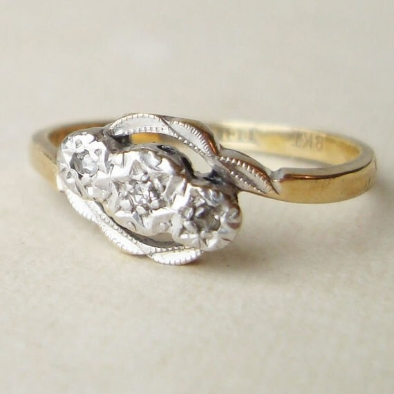 Antique Engagement Ring, Art Deco Diamond Rng, Platinum and 18k Gold Trilogy Twist Ring Size US 6 / 6.25