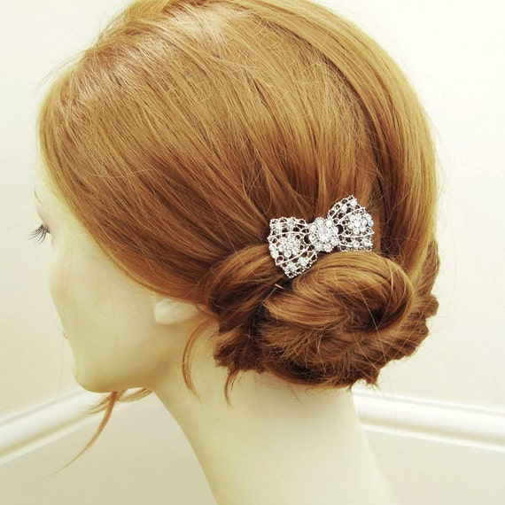 Vintage Bridal Hair Comb, Art Deco Bow Hair Comb, Old Hollywood Crystal Comb, Retro Wedding Hair Accessory,  BETSY