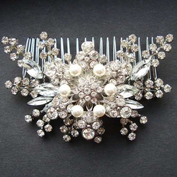 Pearl & Rhinestone Bridal Hair Accessories, Vintage Style Wedding Bridal Hair Comb, Statement Bridal Wedding Headpiece, STARGAZER II