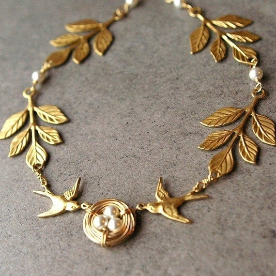Athena's Love Nest, 14k Gold Filled Bird's Nest Necklace, Gold Leaves Bird Nest Jewelry, Bridal Necklace