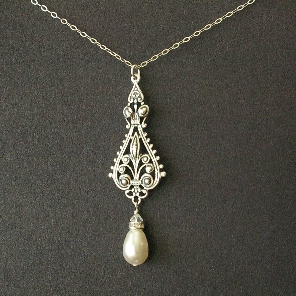 antique silver filigree bridal necklace vintage wedding