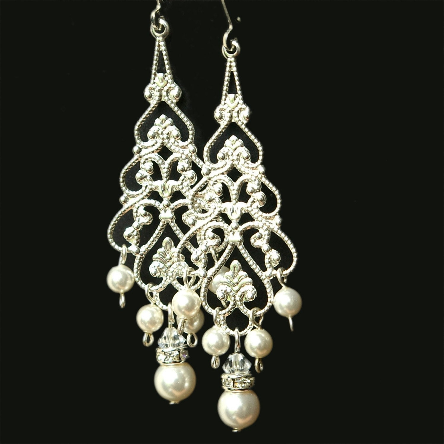 Pearl chandelier bridal earrings silver filigree dangly zoom arubaitofo Gallery