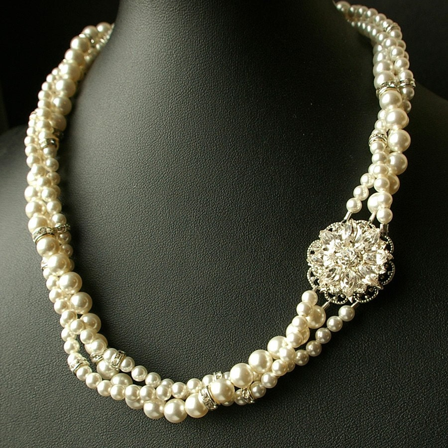 Indiangoldesigns Com Beautiful Antique Bridal Necklace: Vintage Bridal Necklace Twisted Pearl Wedding By Luxedeluxe