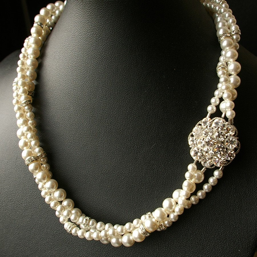 Indiangoldesigns Com Beautiful Antique Bridal Necklace: Twisted Pearl Bridal Necklace Vintage Wedding Jewelry Pearl