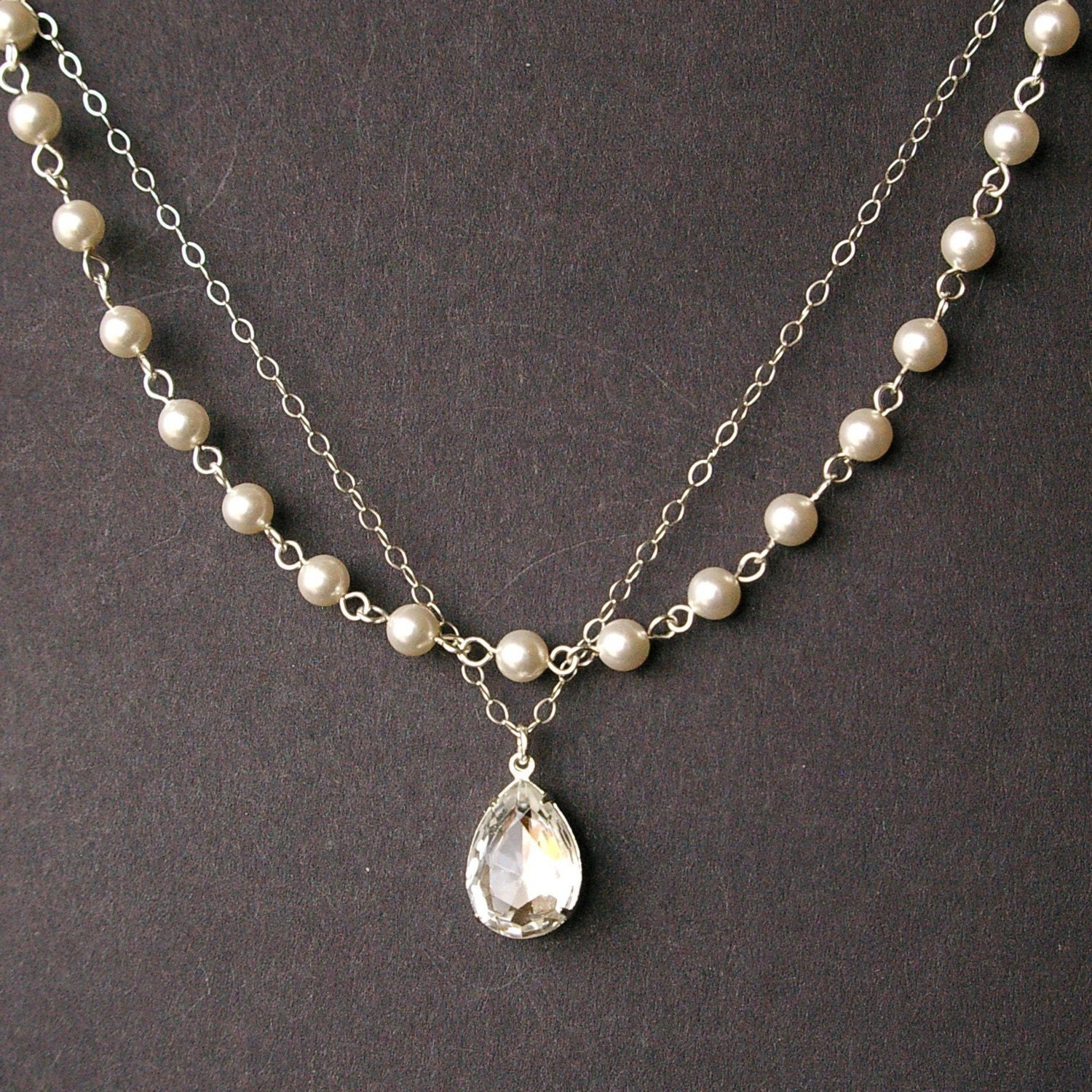 Crystal and Pearl Bridal Necklace Vintage Style Bridal