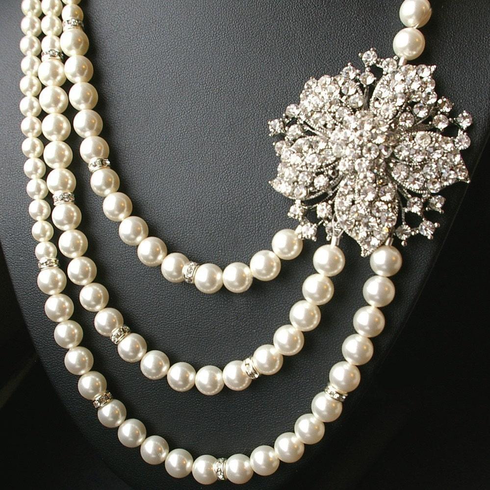 Statement Wedding Jewelry Bridal Necklace Pearl Wedding
