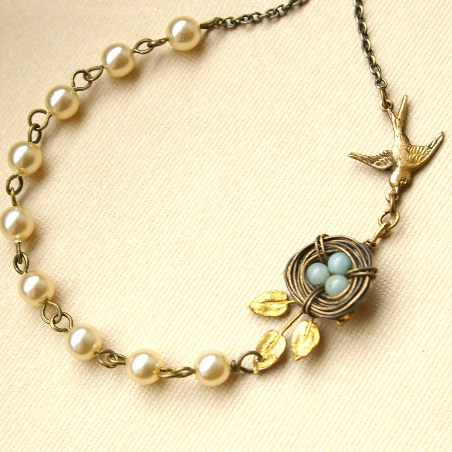 vintage leaf bird s nest necklace blue amazonite egg by