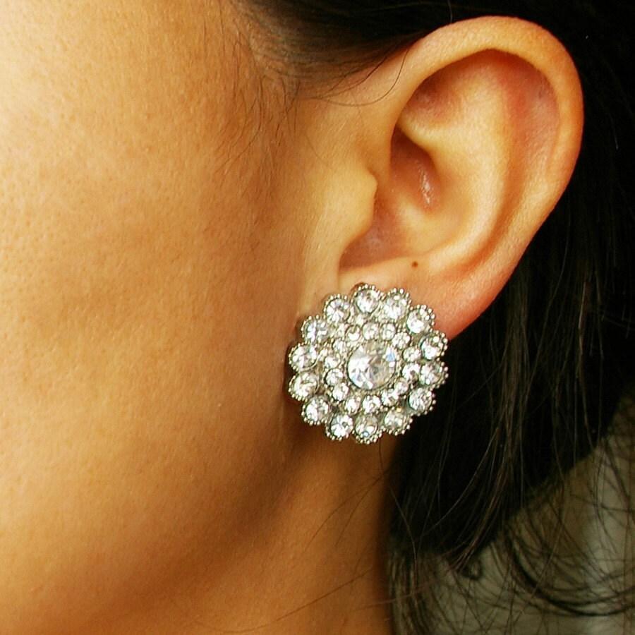crystal bridal stud wedding earrings vintage style by