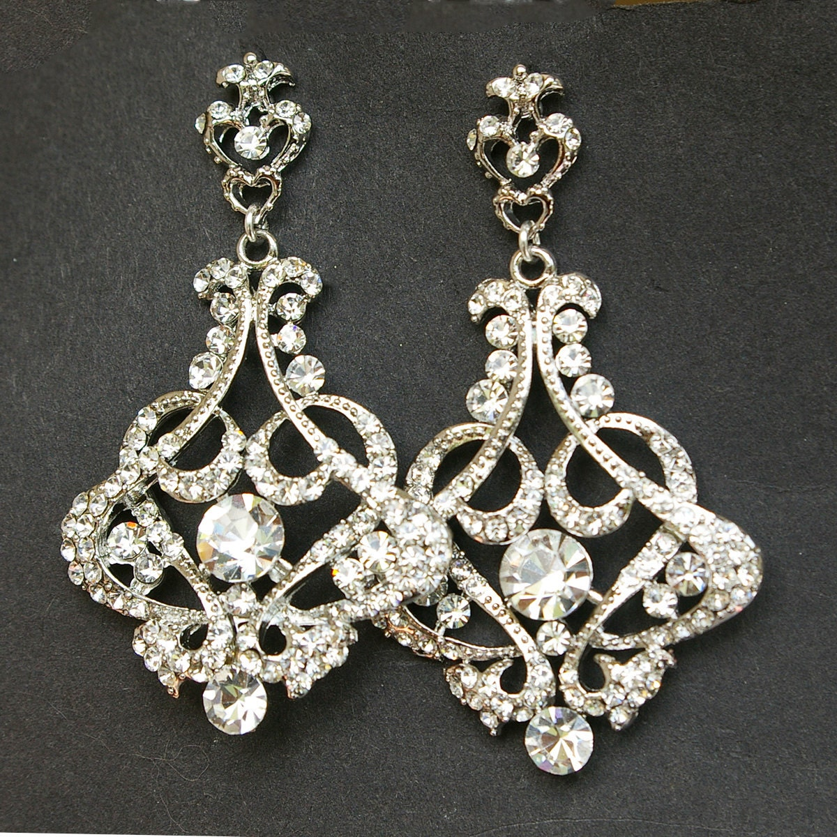 Crystal chandelier bridal earrings vintage wedding earrings zoom arubaitofo Gallery