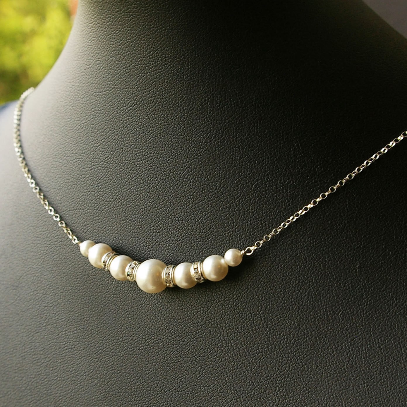 Simple Bridal Necklace Pearl Wedding Necklace Sterling