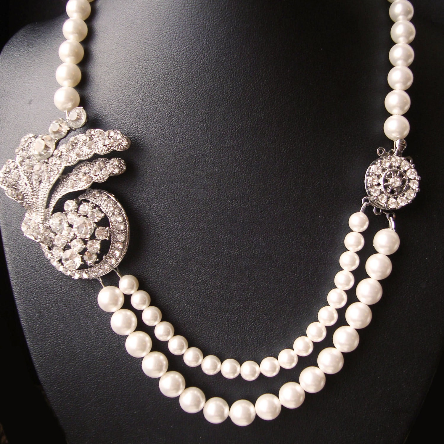 pearl wedding necklace deco style bridal jewelry by luxedeluxe