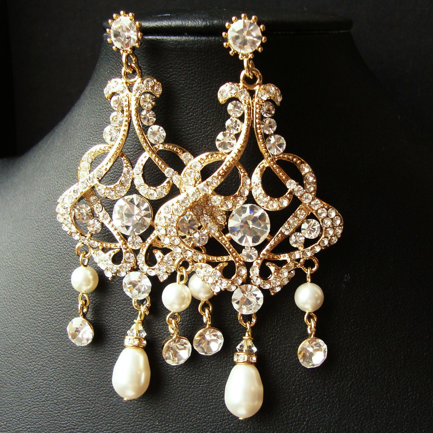 Gold Chandelier Bridal Wedding Earrings Statement By