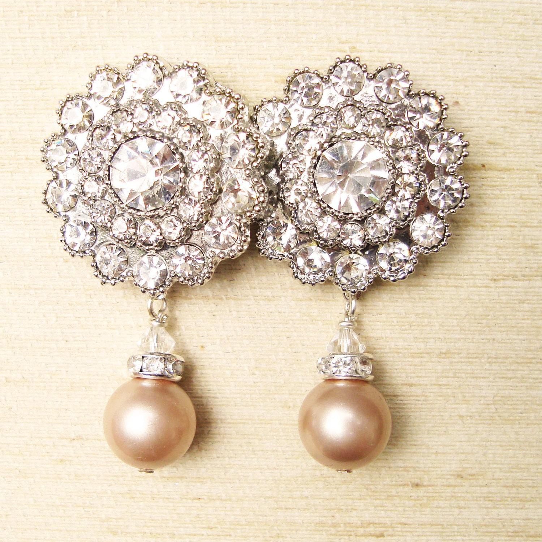 Vintage Style Earrings: Champagne Pearl Bridal Earrings Vintage Style Bridal Wedding