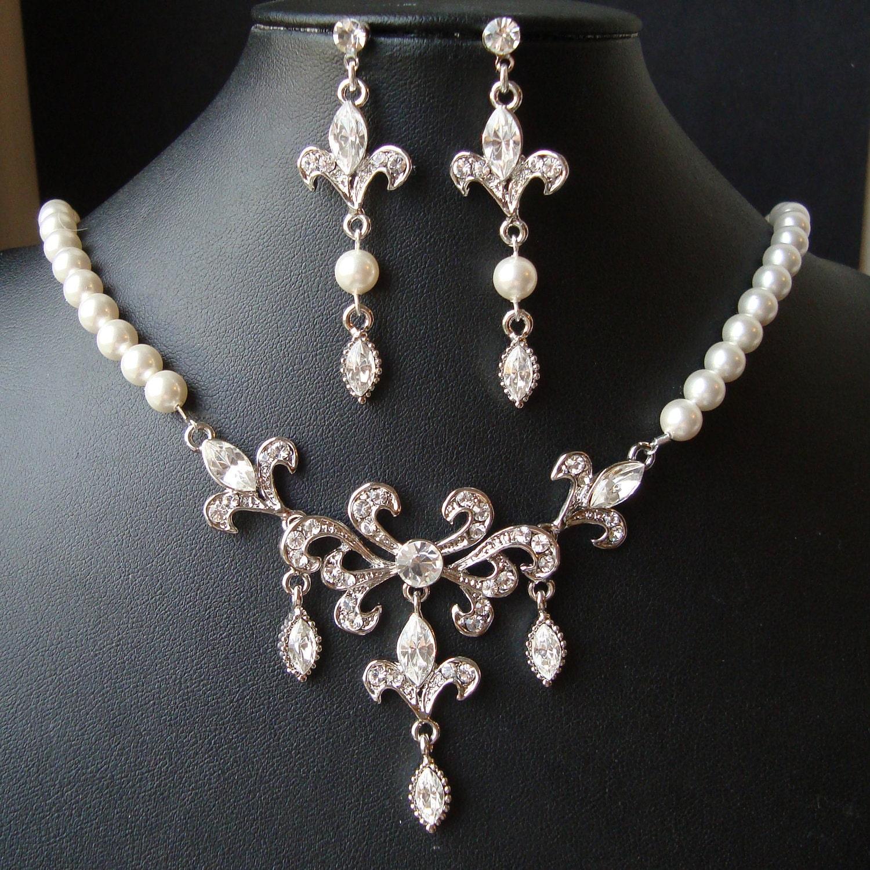 Bridal Jewelry SET Wedding Necklace & Earrings Set Fleur De