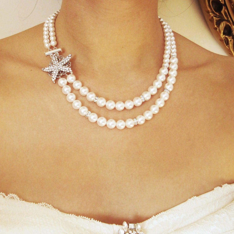 Bridal Starfish Necklace Art Deco Bridal Jewelry Crystal