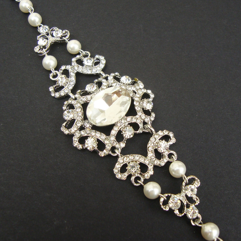 Vintage Style Wedding Bridal Bracelet Rhinestone Victorian